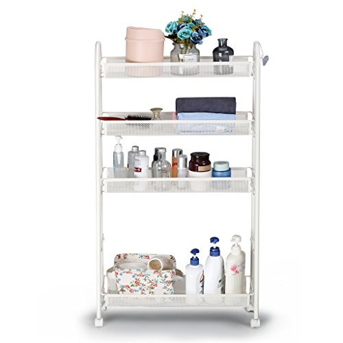 im Slide Out Storage Tower Rack Mesh Rolling Organization Serving Cart Shelf for Narrow Spaces Roller, White ()