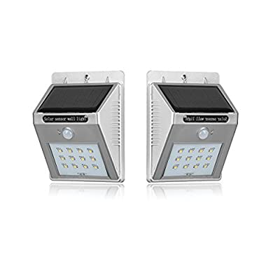 (2Pack)SMD2835 Chip Solar Motion Light 12 LEDs Auto On/Off Security Wireless Waterproof 2600mAh Super Brigiht for Outdoor Wall Fence Step Driveway Stairs Yard Patio Pool (Sliver Cover 200 Lumens 2W)