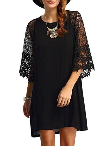 ual Crewneck Half Sleeve Summer Chiffon Tunic Dress (Black, L) ()