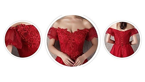 Generic Korean toast clothing red wedding dress banquet presided over strapless evening dress sexy long Dress Costume for women girl by Generic (Image #4)