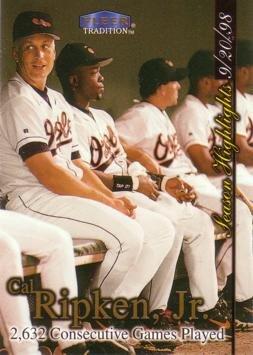 - 1998 Fleer Tradition Update #U8 Cal Ripken 2,632 Consecutive Games Played Highlights Commemorative Baseball Card