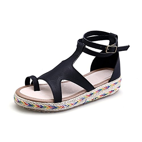 Phorecys Women's Summer Flat Ethnic Toe Ring Comfy Sandals Black Tag 39 -US B(M) 8