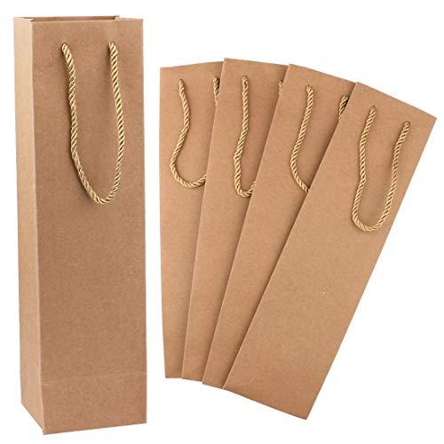 Kraft Wine Bag, Sdootjewelry 50 Pack Paper Wine  Gift Bag, Brown Heavy Duty Wine Bag Holder With Handles, Retail Wine Bag Bulk for Wedding, Party