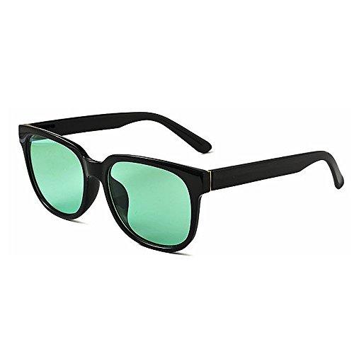 mujeres de UV Unbreakable tamaño gafas retro Gafas de polarizadas unisex lente sol Hombres de Cuadrícula borde Protección sol Gafas con cerradas la de de gran de Verde señora PC sol para de negra Gafas sol g7OcvY