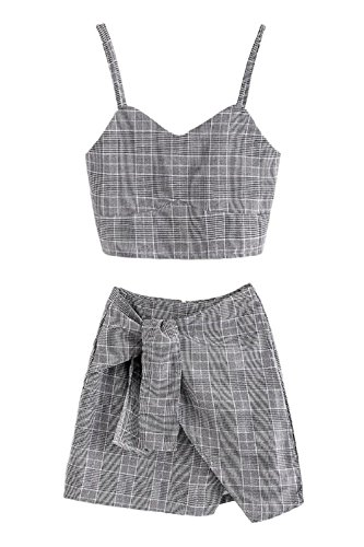 Womens 2 Pieces Outfits Sets Summer Sexy Spaghetti Strap Plaid Cami Crop Tops and Short Bodycon Skirt Set 2 Pieces (Juniors Plaid Shorts)