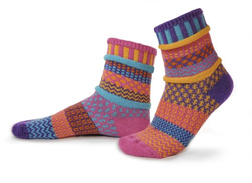 Solmate Socks - Odd or Mismatched Crew Socks for Women or for Men, Made with Recycled Cotton Yarns in USA, Carnation Small