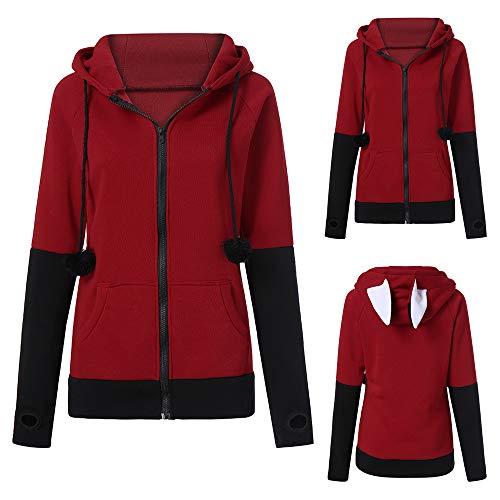 Hooded Manteau Mignon Sweats Femme Longue Fox Chapeau Manche Vest Zipper Du Ears Vin wHrUHnIq