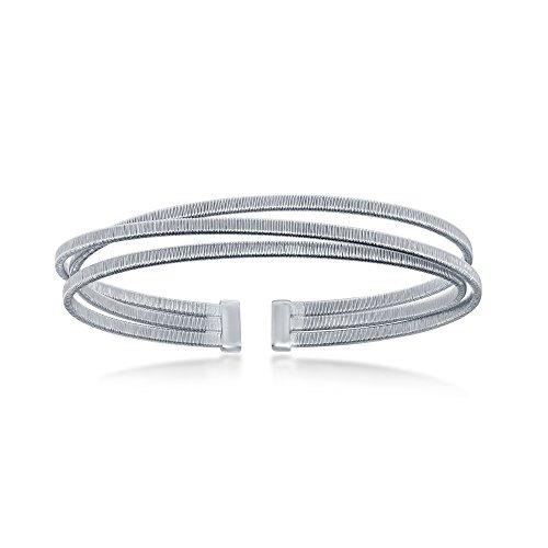 Sterling Silver Italian Triple Wire Designer Bangle