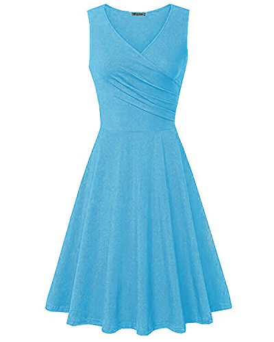 Kilig Women's V Neck Sleeveless Summer Casual Elegant Midi Dress(Blue,XXL)