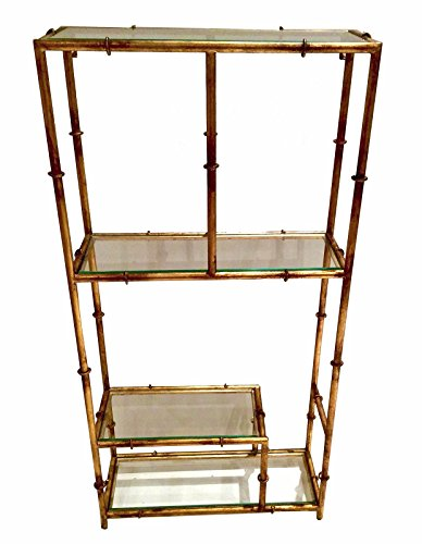 Display & Curio CABINETS - Forbidden City Stylized Bamboo Wall-Mounted Curio - Antique Gold - Chippendale Curio