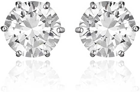 Cocorina Round Cut Cubic Zirconia Magnetic Earrings 7mm - Unisex
