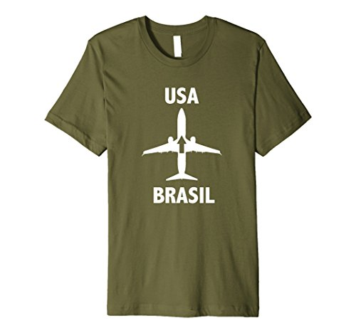 - Mens Brazil to USA Airplane Travel T-Shirt Small Olive