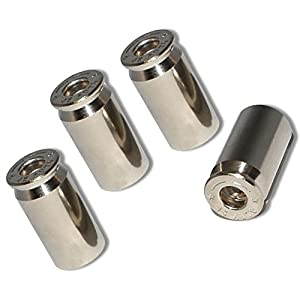 """(4 Count) """"45 Cal Bullet Shells Easy Grip Design"""" Valve Stem Dust Cap Seal Made of Genuine Anodized Nickel Metal { Silver Color Hard Metal Internal Threads for Easy Application Rust Proof}"""