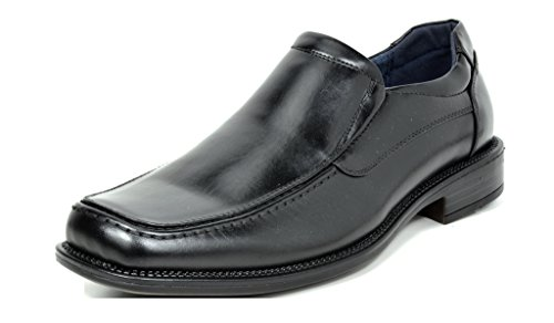 Bruno MARC GOLDMAN-02 Square Toe Men's Slip On Dress Shoes Oxfords Leather Lined Classic Loafers Formal Shoes BLACK SIZE 8.5