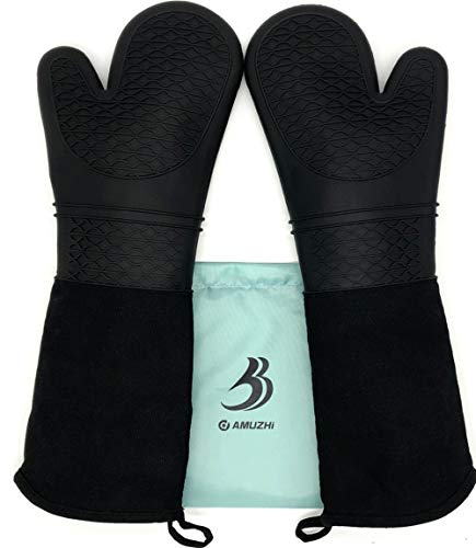 DAMUZHI Extra Long Silicone 1 Pair,Kitchen Gloves Heat Resistant,Cooking,Baking,Grilling,Oven Mitts Heavy Duty,Black (19.7 All clad)