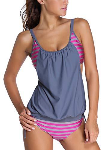 Sidefeel Women Push Up Tankini with Panty 2 Pieces Swimsuit Set Medium Grey ()