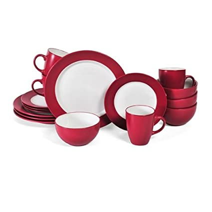 Pfaltzgraff Harmony Red 16-Piece Stoneware Dinnerware Set Service for 4  sc 1 st  Amazon.com & Amazon.com | Pfaltzgraff Harmony Red 16-Piece Stoneware Dinnerware ...