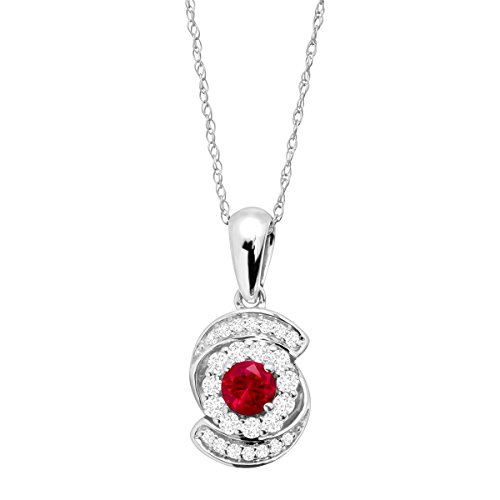 1/3 ct Created Ruby & 1/4 ct Diamond Swirl Pendant Necklace in 10K White (10k Ruby Necklace)