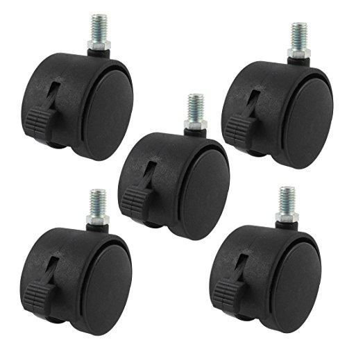 - Uxcell a15042400ux0065 Thread Stem Caster Wheels 2 inch Twin Wheel 3/8 inch Threaded Stem Brake Swivel Nylon Casters Black 5Pcs