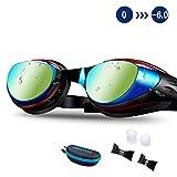 AIKOTOO Swim Goggles,Shortsighted Swimming Goggles Myopic with Prescription Lenses Anti Fog Nose Clip Ear Plugs for Women Kids Men, Swimming Goggles