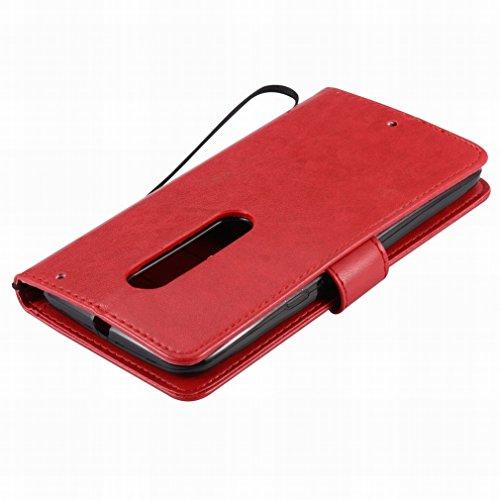 Custodia Motorola Moto X Style / Moto X Pure Edition Cover Case, Ougger Alberi Gatto Printing Portafoglio PU Pelle Magnetico Stand Morbido Silicone Flip Bumper Protettivo Gomma Shell Borsa Custodie co