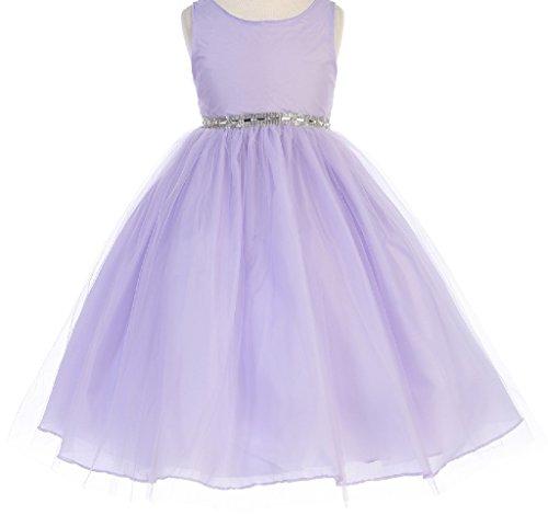 Big Girls' Sparkle Rhinestone Waist Band Tulle Flowers Girls Dresses Lilac 12
