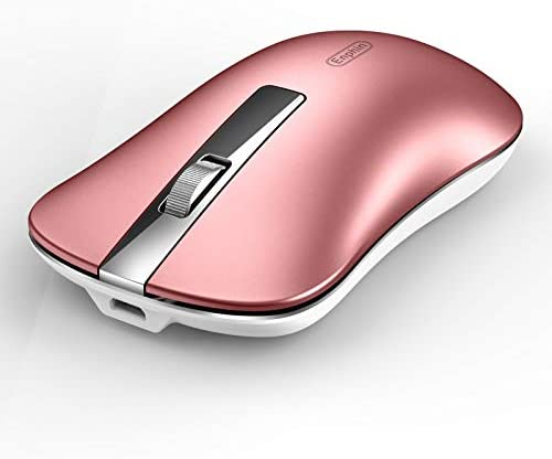 Wireless Computer Mouse, Uiosmuph G9 Slim Silent Wireless Rechargeable Mouse with USB Receiver & Type C Adapter, 2.4G Portable USB Optical Wireless Mouse for Laptop, PC, Desktop, MacBook (Rose Gold)
