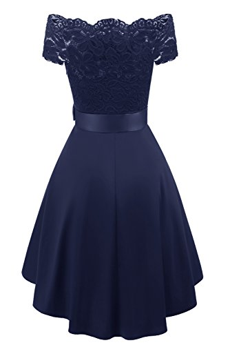 Navy Cocktail Dress Avril Lace Prom Party Evening Shoulder Dress Vintage Formal Women's Off qYq71Pf