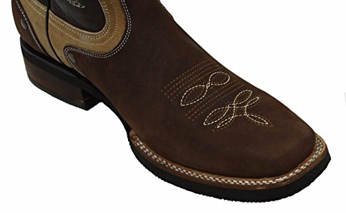 Dona Michi Menn Ekte Okseskinn Kvadrat Tå Western Cowboy Boots Brun