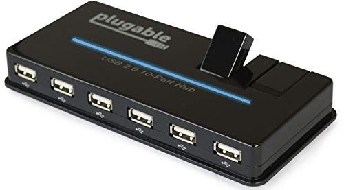 Plugable USB 2.0 10-Port High Speed Hub with Power Adapter and Two Flip-Up Ports