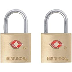 Brinks 161-20271 TSA Approved 22MM Luggage Lock Solid Brass, 2-Pack