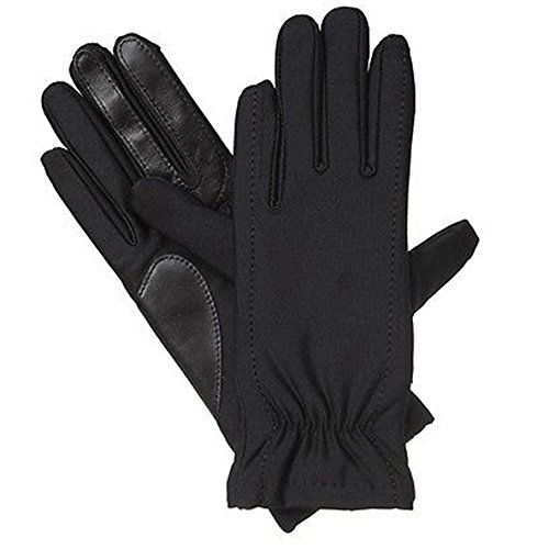 Isotoner Black Stretch Gathered Wrist Smartouch Lined Womens Gloves (XS/SM)
