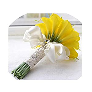 WodCht Beautiful Touch Yellow Calla Lily Wand for Bridesmaid Flower Girl Mini Flower Wand Wedding Bouquet Bridal,Yellow 25