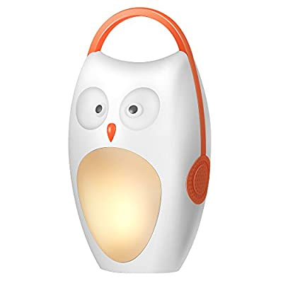 SOAIY White Noise Sound Machine for Baby & Portable Sleep Soothing Owl Night Light with 4 Natural Sounds and 3 Lullabies,Battery Powered, Auto-off Timer