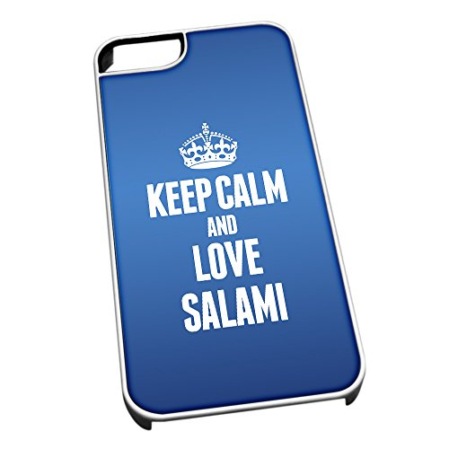 Bianco cover per iPhone 5/5S, blu 1482 Keep Calm and Love salami