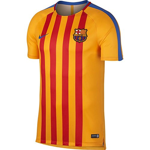 Nike Men's Barcelona NK Dry Squad Top SS GX Soccer Training Jersey (Sz. Large) Gold, (Barcelona Finish)