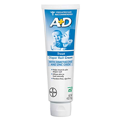 (A+D Zinc Oxide Diaper Rash Treatment Cream, Dimenthicone 1%, Zinc Oxide 10%, Easy Spreading Baby Skin Care, 4 Ounce Tube)