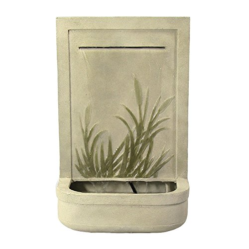 Sunnydaze Modern Cattail Outdoor Wall Water Fountain, Includes Electric Submersible Pump, 24 (Wall Fountain Pumps)
