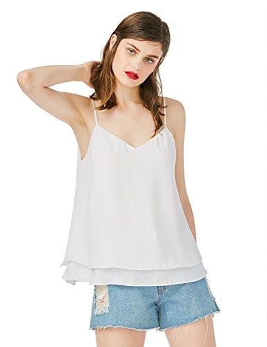 ZAN.STYLE Blusa Mujer sin Mangas Verano de Gasa Camiseta Mujer Tangque Tops Blanco Blanco