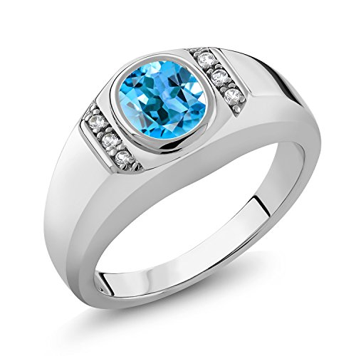 Gem Stone King 1.36 Ct Swiss Blue Topaz White Created Sapphire 925 Sterling Silver Men's Ring (Size 12)