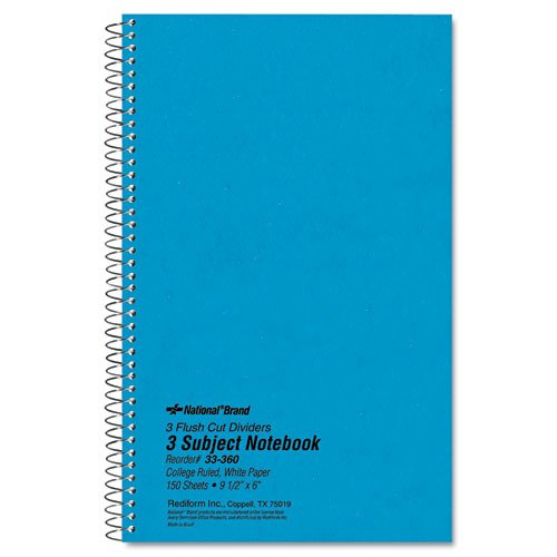 - 3 Subject Wirebound Notebook, College Rule, 9 1/2 x 6, White, 150 Sheets