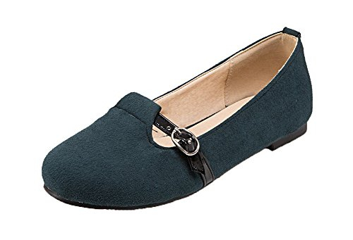 AllhqFashion Womens Pull-On Round Closed Toe No-Heel Frosted Solid Pumps-Shoes Blue 3AiMhmBoj