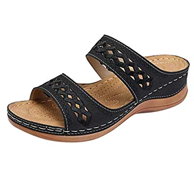 Slide Sandals for Women, Comfortable Slip On Flat Slippers Mules Wedge Sandals Ankle Hollow Peep Toe Slipper Shoes: Clothing