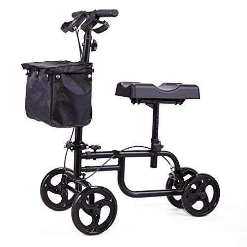 LAZYMOON Knee Scooter Walker Steerable Scooter Crutches Alternative for Disabled Knee Injured Foot