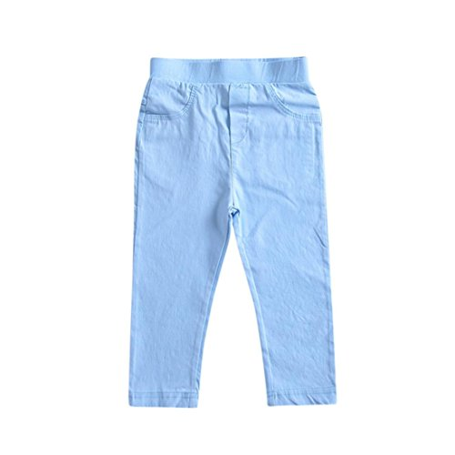 Lisin Toddler Children Trousers Baby Girls Boys Solid Pencil Pants Warm Pants Leggings (Light Blue, Size:3Years)