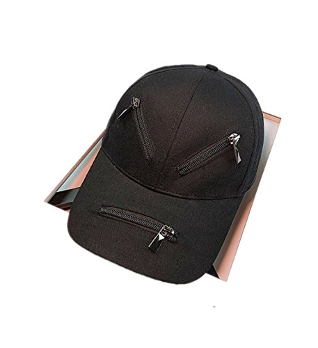 micrkrowen Face Type Diagram Hat Sunscreen Hip Hop Duck Tongue Shade Cap(All Black) by micrkrowen