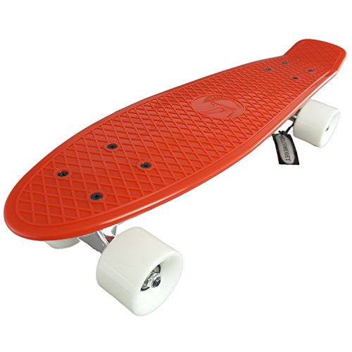 """22"""" Standard Complete Skateboard Retro Board Selectable Colors (red-white)"""
