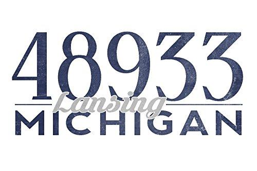 Lansing, Michigan - 48933 Zip Code (Blue) (36x54 Giclee Gallery Print, Wall Decor Travel Poster) (Lansing Anderson Park)