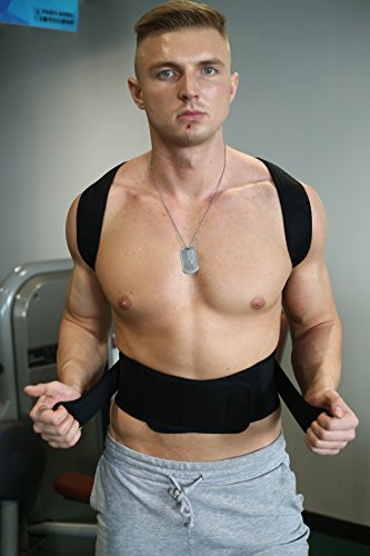 Back Support with 2 pcs Steel for Posture Corrector and Adjustable Double Pull shoulder back support belt S-XXL by Aofit (XL, Black) by Aofit