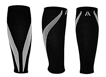 Calf Compression Sleeves | One Pair | Attain Fitness Graduated Compression Sleeves for Shin Splints & Performance. Spiral Compression for Improved Recovery and Blood Flow (Small, Steel)